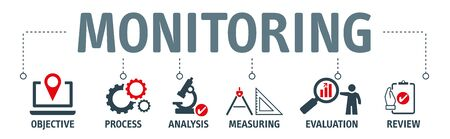 Banner monitoring process concept. objective, process, analysis, measureing, evaluation and review vector illustration concept.