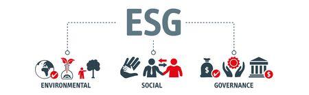 Concept ESG d'illustration vectorielle environnementale, sociale et de gouvernance avec des icônes. Entreprise durable et éthique Vecteurs