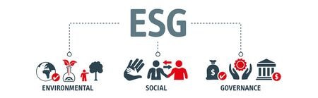 ESG concept of environmental, social and governance vector illustration with icons. Sustainable and ethical business