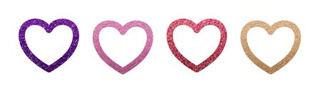 Four decorative and romantic glitter shiny hearts set isolated on white. Purple, Pink, Red, Golden. Illustration for wedding, Valentines, Mothers Day, web, banner, sticker, greeting card  Stock Photo