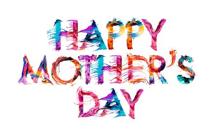 Happy Mother's Day brush typography banner with colorful letters illustration concept on white background