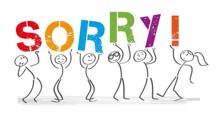 Stick figures holding the word SORRY Vector banner with the text sorry