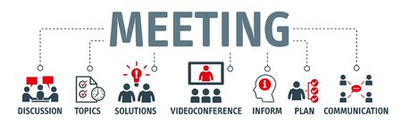 Meeting concept vector illustration. A meeting is when two or more people come together to discuss one or more topics, often in a formal or business setting, but meetings also occur in a variety of other environments Vecteurs