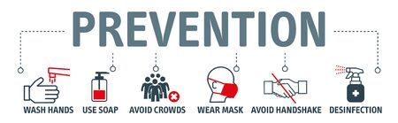 Prevention Concept. Safety, health, remedies and prevention of viral diseases with vector icons