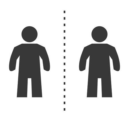 Social distancing. Keep the 1-2 meter distance- virus prevention - vector icon symbol on white background Ilustração