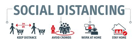 Social Distancing and physical distancing - Coronavirus Prevention Vector Illustration Set with icons