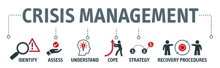 crisis management concept with vector icons. Crisis management is the process by which an organization deals with a disruptive and unexpected event that threatens to harm the organization or its stakeholders