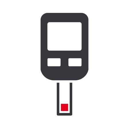 checking blood sugar level with blood glucose meter. Icon on white background. Vector illustration concept