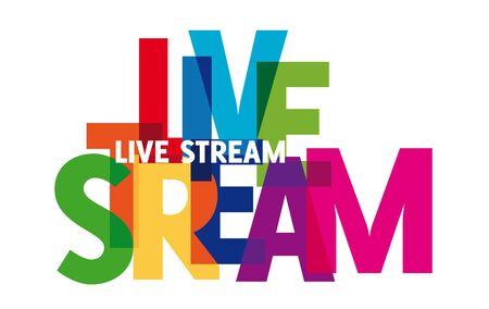 live stream. Colorful vector illustration of live streaming, broadcasting, online stream. Symbol for blog, player, broadcast, website, online radio, media labels, logo Ilustração