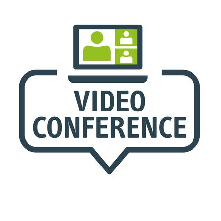 Speech bubble video conference and meeting Vector Illustration with icon Ilustração