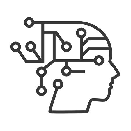 AI with Digital Brain is learning processing big data - artificial intelligence, automation and internet of things Vector Illustration icon Ilustração