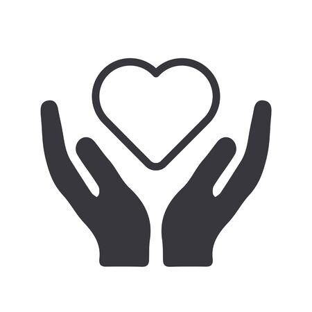 Vector icon illustration of health care, medicare, prevention and heart cardio concept
