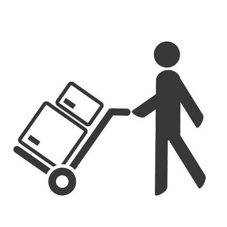 symbol and sign of delivery man - vector icon concept on white backround Ilustração