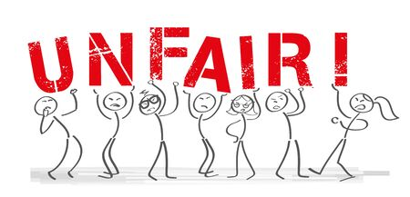 Stick figures holding the word UNFAIR - Vector banner with the text unfair