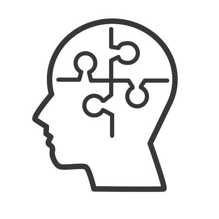psychology and mind vector design concept icon on white background Ilustração