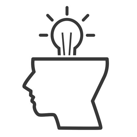 Innovate, idea and thinking vector design concept icon on white background