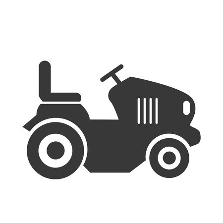 illustration of lawn mower and tractor grass cutter vector icon. Vector design concept on white background
