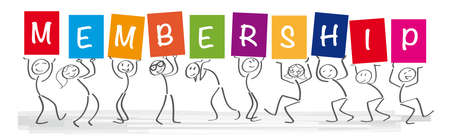 Stick figures holding the word MEMBERSHIP Vector banner with the text subscribe