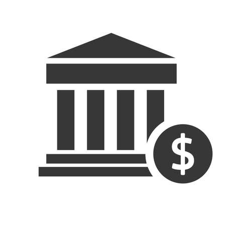 banking and bank building vector design concept icon isolated on white background