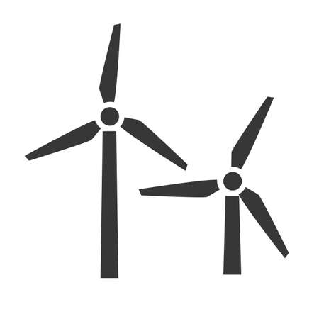wind generator and windmill-powered plant vector illustration design concept icon on white background