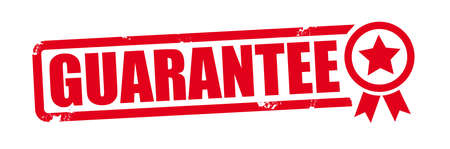 guarantee and warranty red grunge rubber stamp on white background. Vector illustration