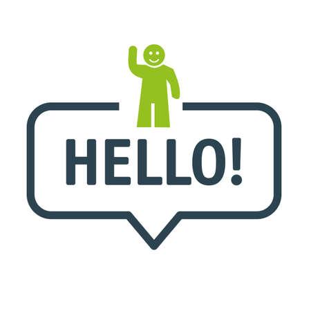 Hello and greetin vector icon concept. Speech bubble Vector Illustration with icon Ilustração