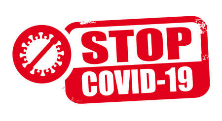 stop covid-19. Grunge rubber stamp on white background. Design element for advertising. Vector illustration concept