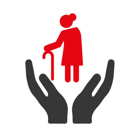 Caregiver vector icon concept. Eldery care, nursing home, assisted living, home nurse and support