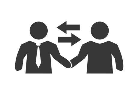 Agreement icon. Business people partner handshake after finishing up business meeting. Vector illustration concept Ilustração