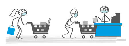 customers shoping at supermarket with mask protection and social distancing - shoping in the new normal Ilustração