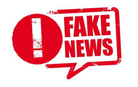 FAKE NEWS - red rubber stamp on white background. Vector illustration