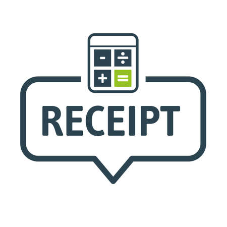 Speech bubble receipt, concept. Vector illustration banner with icons and keywords Ilustração