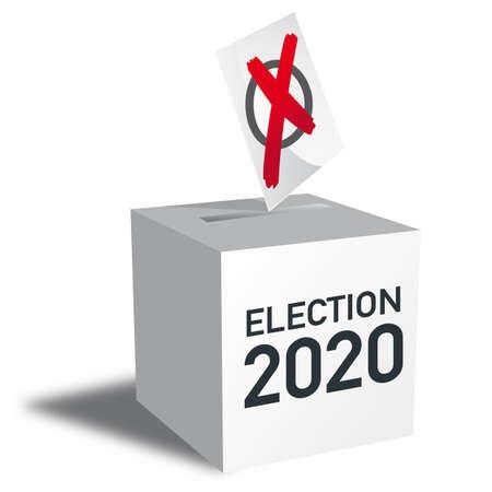 Casting vote into the ballot box at elections. Ilustração
