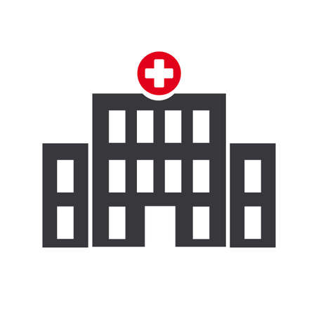 Vector icon illustration of hospital, clinic and infirmary concept isolated on white Ilustração