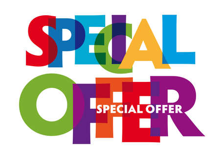 special offer vector illustration letters banner, colorful badge illustration on white background