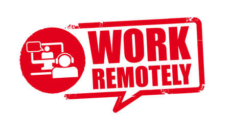 work remotely - red rubber stamp on white background. Vector illustration