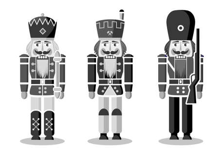 three german nutcrackers - traditional wood carving - monochrome vector illustration on white background 向量圖像