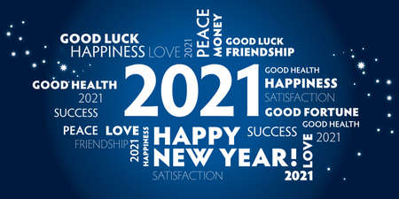 Postcard happy new year 2021 for celebration and season decoration - blue background Vettoriali