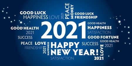 Postcard happy new year 2021 for celebration and season decoration - blue background Vektorové ilustrace
