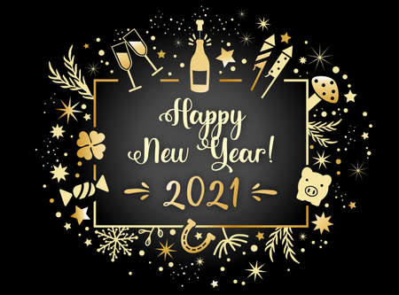 New Year's Eve - postcard happy new year 2021 illustration on black background Vettoriali