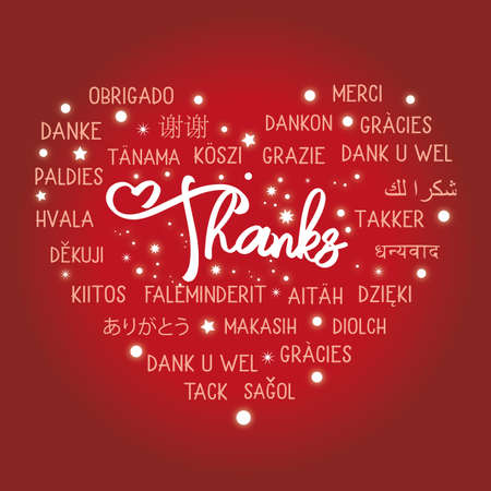 Thanks - multilingual text in many languages - postcard on red background Çizim