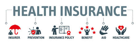 Health insurance vector illustration concept. Banner of health care and meeting the costs concept with icons