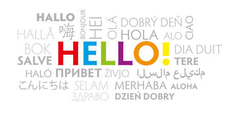 the word hello in different languages. Italian ciao, german hallo, french bonjur and salut, spanish hola, japanese konnichiwa, chinese nihao and other greetings. colorful vector illustration