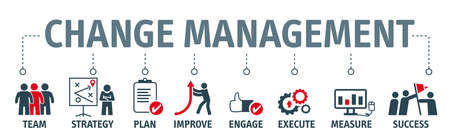 Change Management is a collective term for all approaches to prepare, support, and help individuals, teams, and organizations in making organizational change - Vector Illustration Concept isolated on white background Vektorové ilustrace