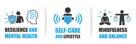 modern communication symbols of resilience and metal health, self-care and lifestyle, mindfulness and balance. Vector illustration concept for advertisement marketing and web Vetores