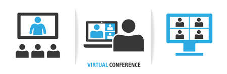 Icon Set shows employees who speak on video call with various colleagues on online event briefing. Telecommuting worker have Webcam group conference with coworkers - virtual conference- Vector Illustration Concept isolated on white banner