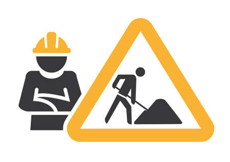 renovation and bulding site symbol - vector illustration concept on white background 版權商用圖片 - 164170425