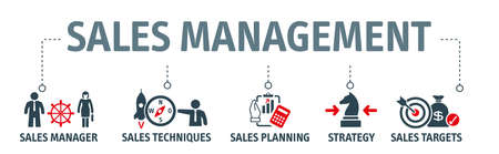 Sales management is a business discipline which is focused on the practical application of sales techniques and the management of a firm's sales operations. Vector icon concept