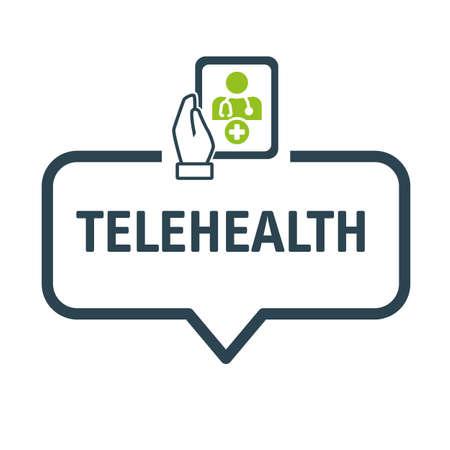Speech bubble telehealth and telemedicine - Vector Illustration Concept isolated on white background Stock Illustratie