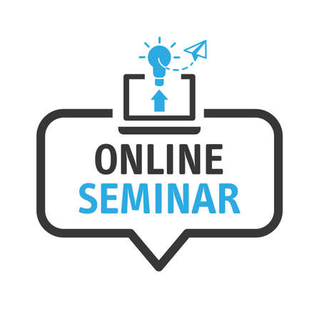 online seminar - speech bubble with icon on white background - vector illustration concept